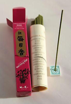 Japanese Incense Sticks | Morning Star | Rose | 50 Sticks & hldr | Nippon Kodo