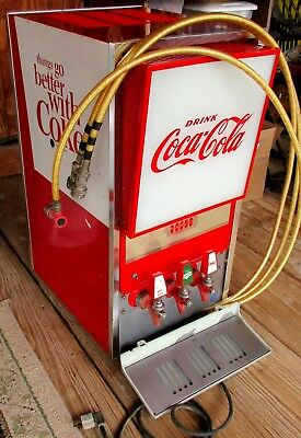 Narco Coca Cola Soda Pop Fountain Drink Dispenser Illuminated Panel 3 Tap 1960s