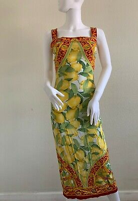 Dolce & Gabbana Silk Floral Lemon Print Dress size 42