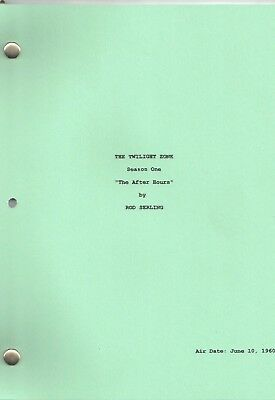 """THE TWILIGHT ZONE  show script """"The After Hours"""" Season One"""