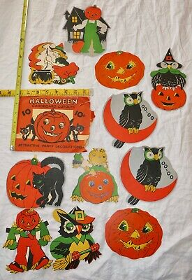 HALLOWEEN PARTY DECORATIONS 12 CARDBOARD CUTOUTS 1940'S 50'S