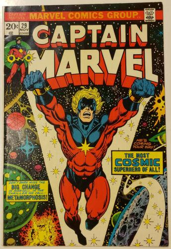 CAPTAIN MARVEL 29 Marvel Comics 1973 Mar-Vell THANOS The Controller JIM STARLIN