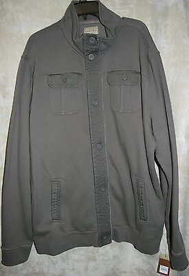 NWT Sonoma long sleeve Jacket button front Brown Super Soft mens Cotton 4 pocket
