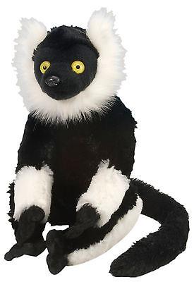 Lemur Stofftier (Wild Republic 12230 Stofftier Affe schwarz weiß Vari Lemur Chris Grösse (cm) 30)