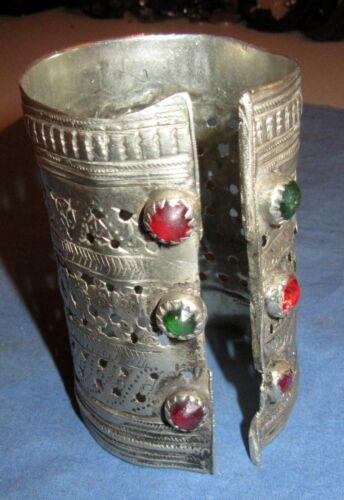 "Bracelet Vintage Cuff Afghan Kuchi Tribal Alpaca Silver 3"" tall 2.25"" dia DEFECT"