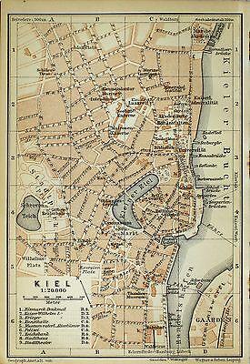 KIEL, alter farbiger Stadtplan, gedruckt ca. 1900