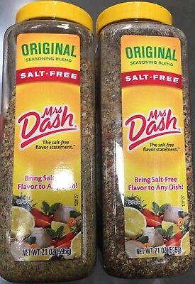 - 2 PACKS Mrs DASH SALT FREE ORIGINAL SEASONING BLEND EACH NET 21 OZ - TOTAL 42 OZ