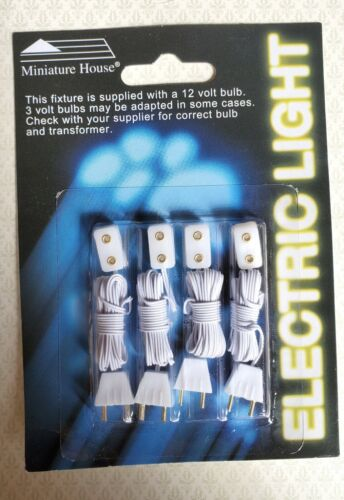 Dollhouse Miniature Outlet Receptacle with Plug for 12 Volt Lights x4 1:12