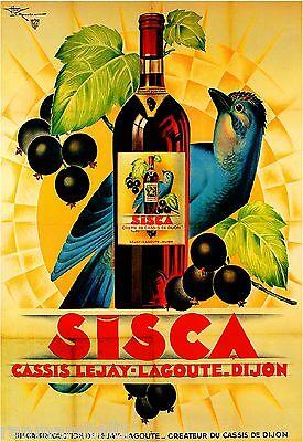 Sisca Creme de Cassis Bluejay Bird Wine Vintage Advertisement Art Poster Print