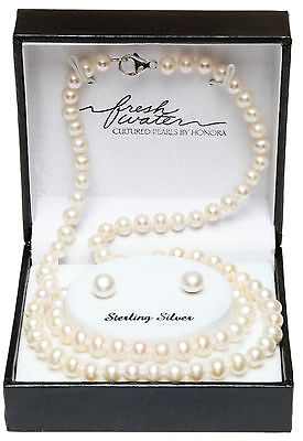 Honora Freshwater Pearl .925 Sterling Silver Necklace, Bracelet, & Earrings set