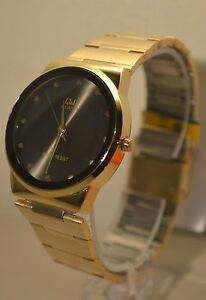 NEW-Q-Q-By-Citizen-Gold-and-Black-Dial-Men-s-Watch-Elegant