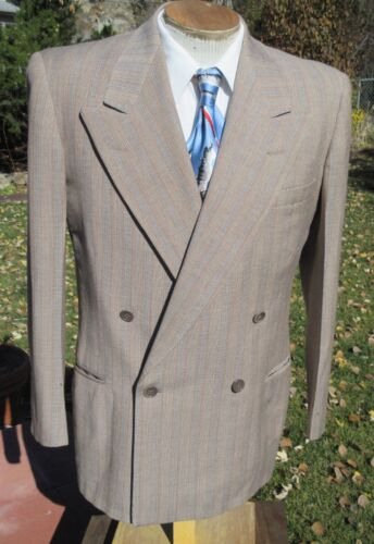 1950s Double Breasted Sport Coat Blazer 42S - Alterable Striped Gangster Jacket