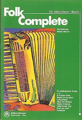 Akkordeon Noten - FOLK COMPLETE - Band 1 - 50  weltbekannte Songs