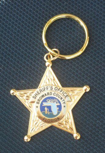 Broward Sheriff Office Florida Fla State of FL Police Mini Gold Star Key Chain