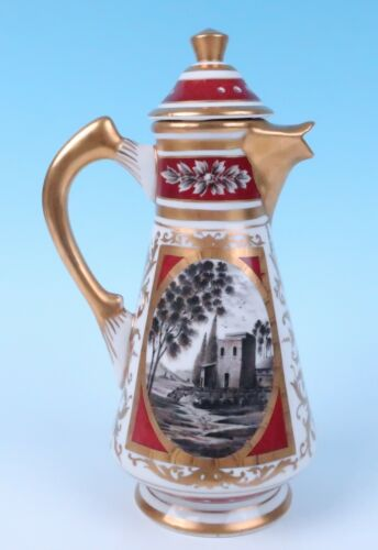 French Porcelain Hand Painted Sevres Style Chocolate or Coffee Pot Samson Paris