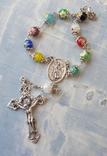 St Michael Archangel/Guardian Auto Rosary Millefiori Beads One Decade Car~Italy