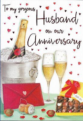"HUSBAND WEDDING ANNIVERSARY GREETING CARD 9""X6"" NICE VERSE FREE P&P"