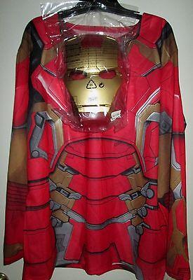 Marvel AVENGERS Age Ultron ADULT IRON MAN Costume SHIRT & MASK L New 2pc MEN - Adult Ironman Costume