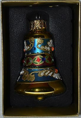 Glass Bell Ornament~Metallic Aqua Blue~Gold~Christmas~Easter~Holiday~Tree~NEW