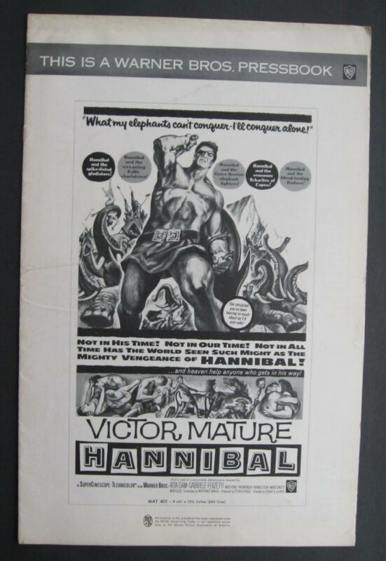 Warner Bros.  Press Book Publicity Release For Hannibal Victor Mature 1959