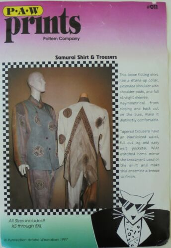 PAW Prints 011 Misses Samurai Shirt & Trousers Sewing Pattern Sz XS-XL