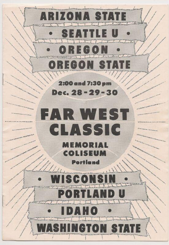 1960 Far West Basketball Program Seattle Oregon Oregon St. Washington St. RARE!!