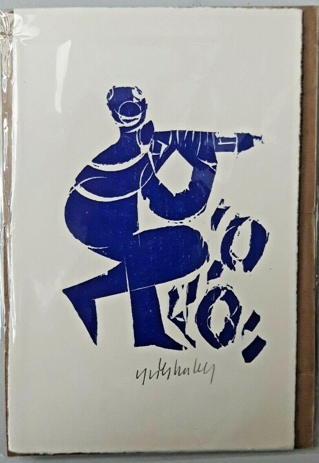 "HAP Grieshaber ""Pan"" Flötenspieler original Holzschnitt in blau handsigniert"