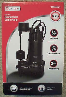 Utilitech 12 Hp 74 Gpm Cast Iron Submersible Sump Pump-90ecd518-804571-sealed