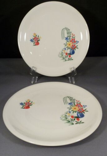 Vtg Paden City Pair Bread & Butter Plates Pattern PCP70 Green Trellis Flowers-