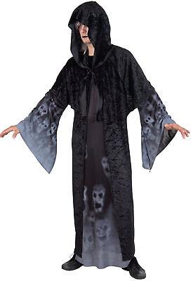 schwarzes Herren Gewand Trompetenärmel Dämonen Geister Hexe - Dämon Hexe Kostüm