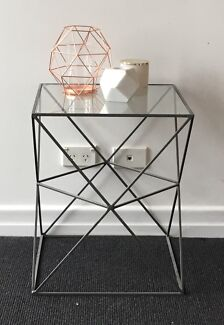 x2 Modern Glass and Steel Side Tables