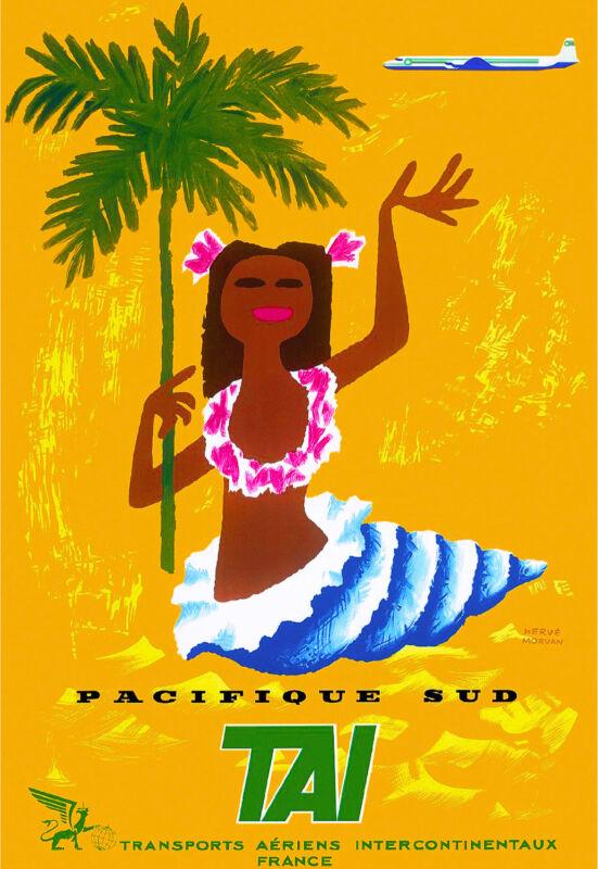 South Pacific Tahiti Tahitian French Polynesia Travel Advertisement Poster