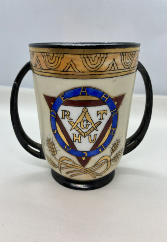 "Gorgeous Antique 1915 Masonic Two Handle Cup / Royal Bavaria / Rare 5.375"" Tall"