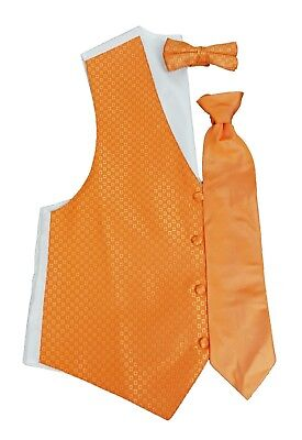 Mens Bright Orange Perfect Tuxedo Formal Vest & Tie Waistcoat Wedding Prom - Bright Orange Tuxedo