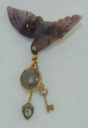 14K Georgian Carved Amethyst, Rose Cut Diamonds Locket Charm Saint Esprit Brooch