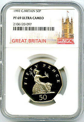 1992 GREAT BRITAIN 50P PENCE NGC PF69 UCAM PROOF TOP POP ONLY 1 RARE MINTAGE 62K