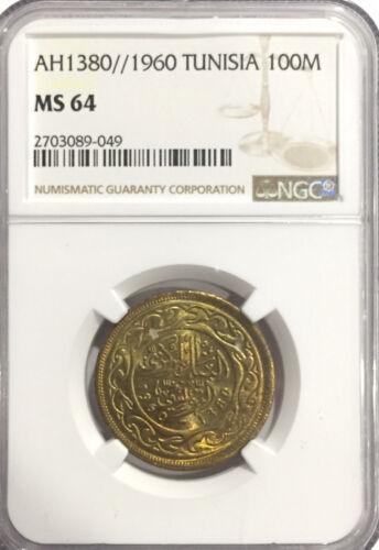 1960 MS64 Tunisia 100 Millim NGC UNC KM #309 AH 1380