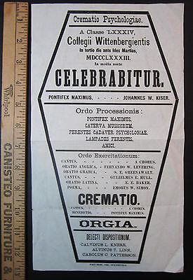 RARE Broadside - Wittenberg University College 1883 Mourning Class End Death