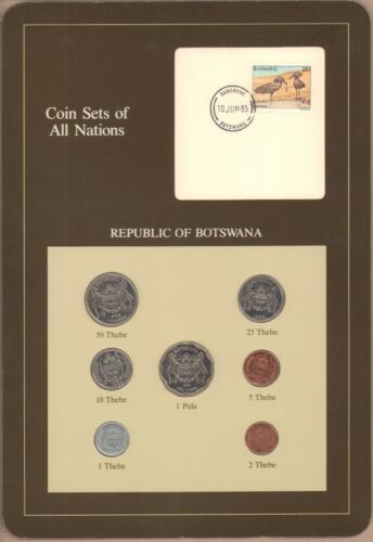 {BJSTAMPS} Coin Sets of All Nations Republic of Botswana BU 1981-1984