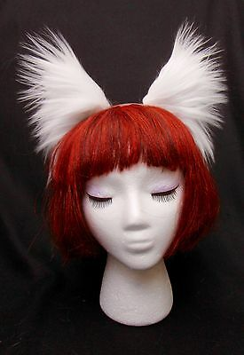 White Arctic Fox Wolf Cat Dog Ears, Extra Long Soft Fashion Fur