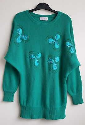 VINTAGE 80'S CRYSTALS BATWING GREEN ANGORA & WOOL BLEND JUMPER SIZE 12-14
