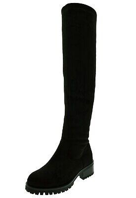 Stivali neri donna scamosciati alti sopra il ginocchio stivale alla coscia tacco