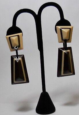 Artdeco Stil  /60er Ohrringe perfektes Design, Frankreich Pariser Chic ,braun