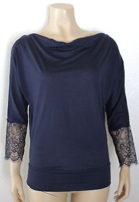 Back Cowl Top (Anthropologie DELETTA Open Lace Back Draping Cowl Neck Navy Blue Top, XS 0 2 )