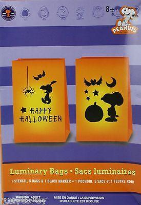 Halloween Peanut Snoopy Happy Halloween Luminary Orange Bags Stencil Bags Marker - Luminary Bag