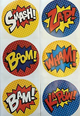 25 Super Hero Stickers Party Favors Teacher Supply Smash Boom Zap Wham Bam  - Super Hero Supplies