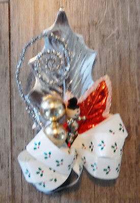 CHRISTMAS Mercury Glass Snowman Corsage NEW/VINTAGE stk PACKAGE Ties picks RED/S