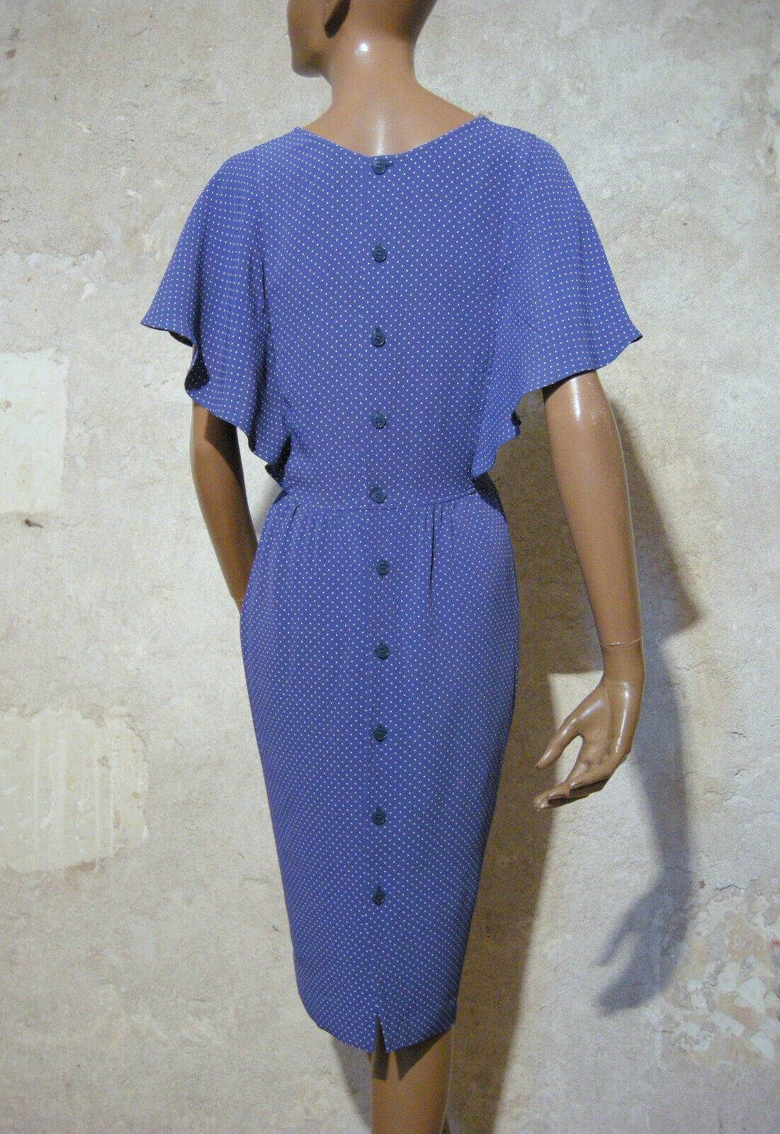 Cacharel chic vintage robe pois 1980 true vtg dress 80s kleid 80er abito ( 36 )