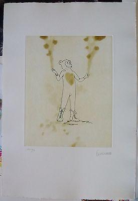 Francisco Larios Osuna Performance in Bär Kostüm Radierung Handsigniert (Performance Kunst Kostüme)