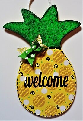 Welcome PINEAPPLE SIGN Wall Art Door Hanger Tropical Plaque Home Hawaiian Decor](Hawaiian Home Decor)